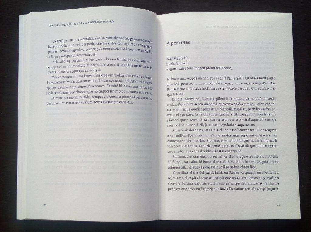 """producció editorial dels exemplars resultants del """"Concurs Literari per a escolars Òmnium Mataró. Memorial Joaquim Casas"""", que ha arribat a la 38a edició"""